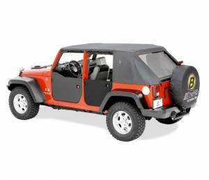 Exterior - Doors - Bestop - Bestop Lower Fabric Half-doors; Rear - Jeep 2007-2018 Wrangler JK Unlimited 53041-35