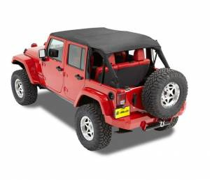 Tops & Parts - Soft Tops - Bestop - Bestop Header Bikini Top; Safari (Cable style) - Jeep 2010-2018 Wrangler JK Unltd 52594-35